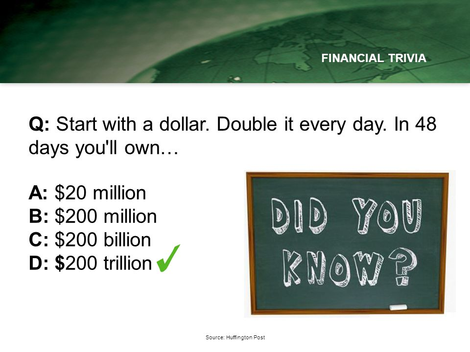 Source: Huffington Post FINANCIAL TRIVIA Q: Start with a dollar.