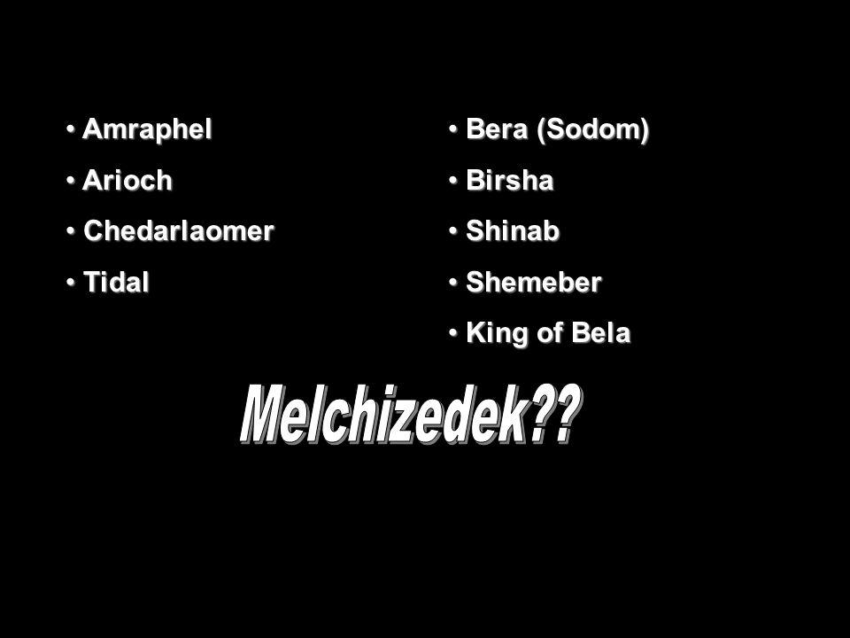 Amraphel Amraphel Arioch Arioch Chedarlaomer Chedarlaomer Tidal Tidal Bera (Sodom) Bera (Sodom) Birsha Birsha Shinab Shinab Shemeber Shemeber King of Bela King of Bela