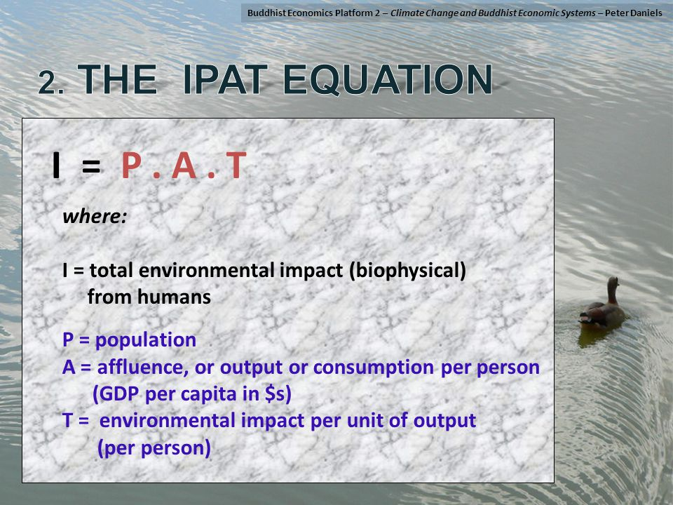 I = P. A. T where: I = total environmental impact (biophysical) from humans P = population A = affluence, or output or consumption per person (GDP per