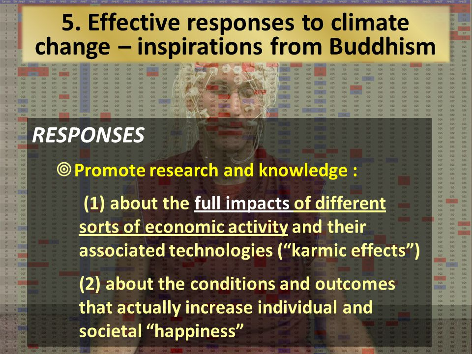 RESPONSES Promote research and knowledge : (1) about the full impacts of different sorts of economic activity and their associated technologies (karmic effects) (2) about the conditions and outcomes that actually increase individual and societal happiness 5.