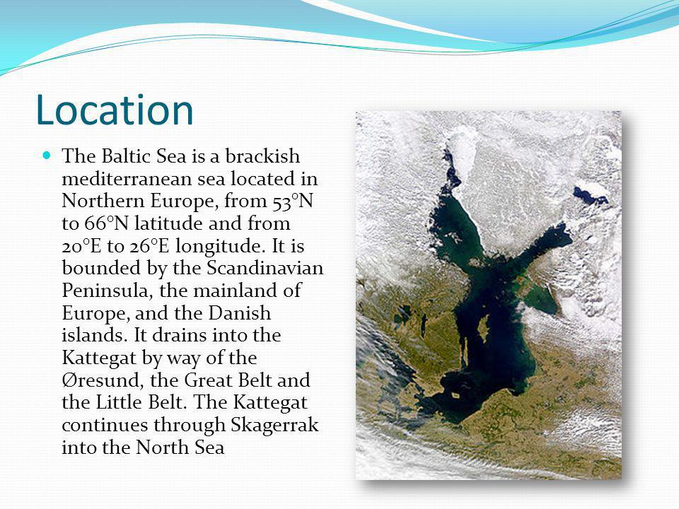 Dimensions The Baltic sea is about 1600 km long, an average of 193 km wide, and an average of 55 m deep.