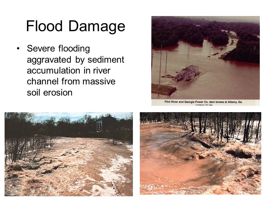 Flood Damage Severe flooding aggravated by sediment accumulation in river channel from massive soil erosion