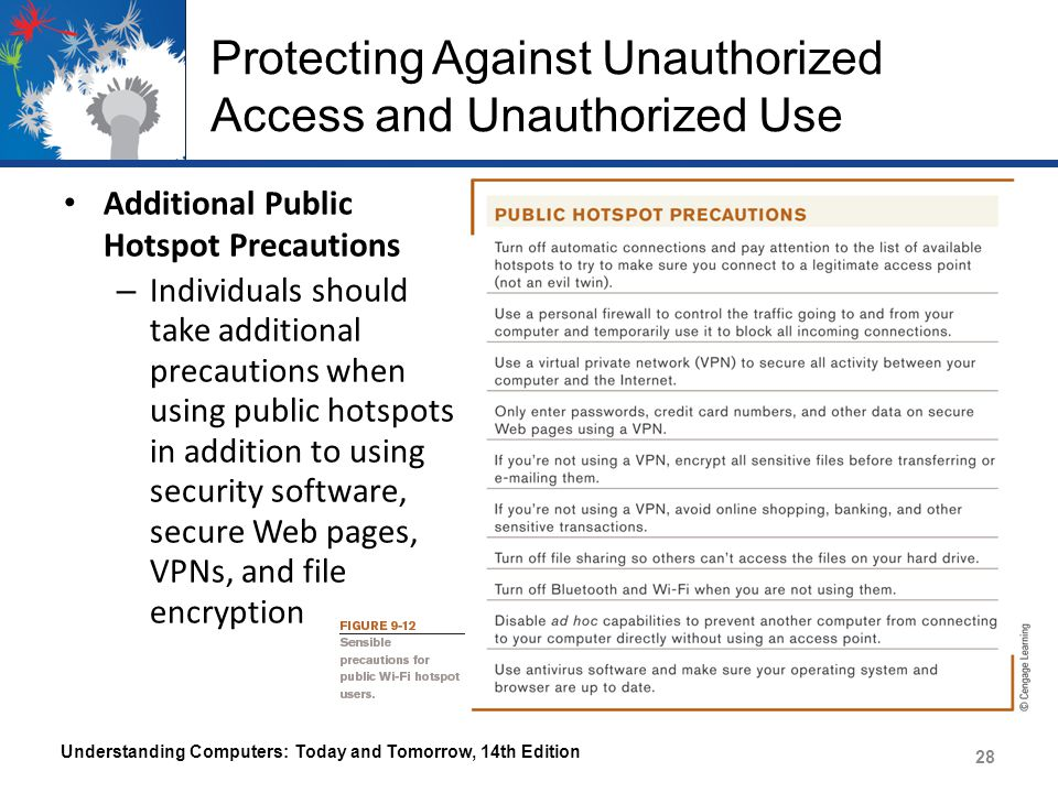 Protecting Against Unauthorized Access and Unauthorized Use Additional Public Hotspot Precautions – Individuals should take additional precautions whe