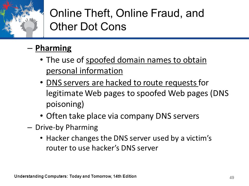 Online Theft, Online Fraud, and Other Dot Cons – Pharming The use of spoofed domain names to obtain personal information DNS servers are hacked to rou