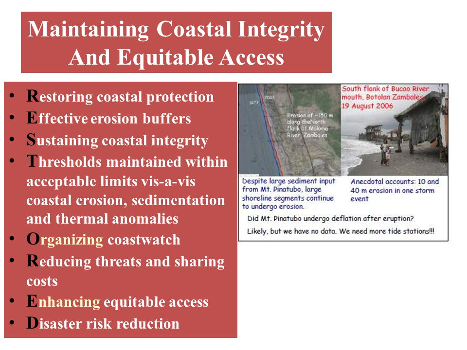 Maintaining Coastal Integrity And Equitable Access R estoring coastal protection E ffective erosion buffers S ustaining coastal integrity T hresholds