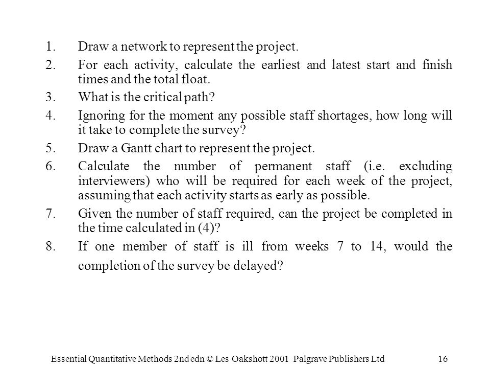 Essential Quantitative Methods 2nd edn © Les Oakshott 2001 Palgrave Publishers Ltd16 1.Draw a network to represent the project.