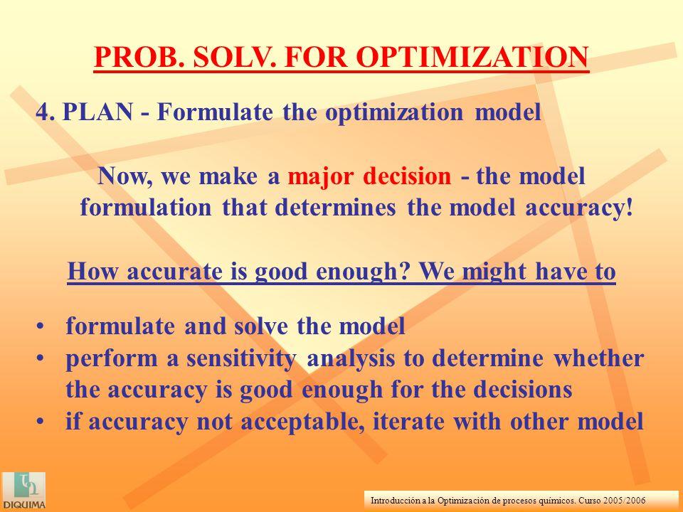 Introducción a la Optimización de procesos químicos. Curso 2005/2006 PROB. SOLV. FOR OPTIMIZATION 4. PLAN - Formulate the optimization model Now, we m