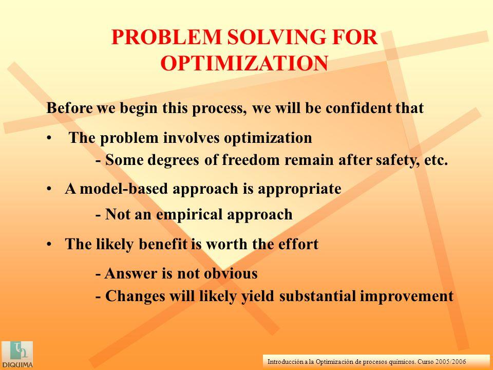 Introducción a la Optimización de procesos químicos. Curso 2005/2006 Before we begin this process, we will be confident that The problem involves opti