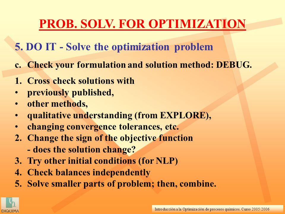 Introducción a la Optimización de procesos químicos. Curso 2005/2006 PROB. SOLV. FOR OPTIMIZATION 5. DO IT - Solve the optimization problem c.Check yo