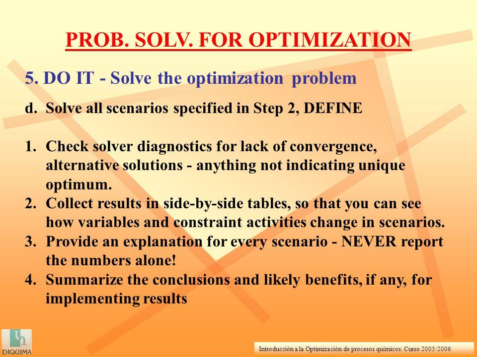 Introducción a la Optimización de procesos químicos. Curso 2005/2006 PROB. SOLV. FOR OPTIMIZATION 5. DO IT - Solve the optimization problem d.Solve al