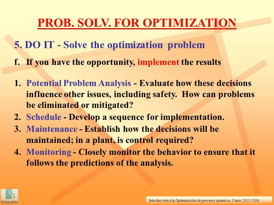 Introducción a la Optimización de procesos químicos. Curso 2005/2006 PROB. SOLV. FOR OPTIMIZATION 5. DO IT - Solve the optimization problem f.If you h
