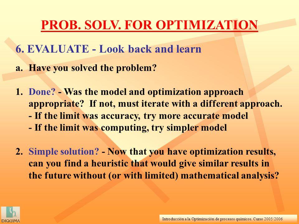 Introducción a la Optimización de procesos químicos. Curso 2005/2006 PROB. SOLV. FOR OPTIMIZATION 6. EVALUATE - Look back and learn a.Have you solved