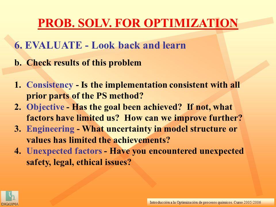 Introducción a la Optimización de procesos químicos. Curso 2005/2006 PROB. SOLV. FOR OPTIMIZATION 6. EVALUATE - Look back and learn b.Check results of