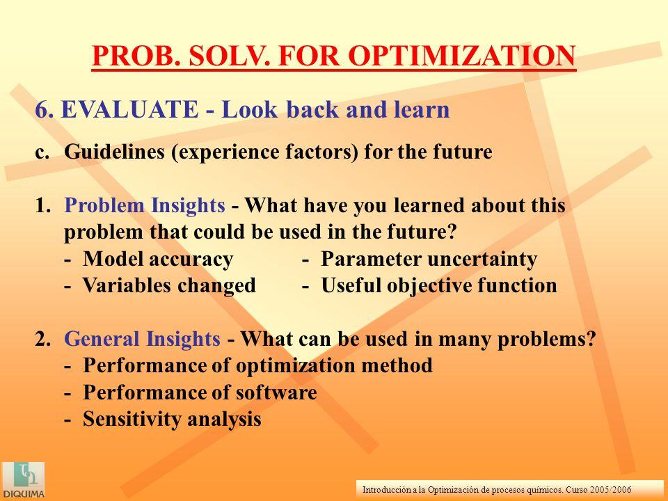 Introducción a la Optimización de procesos químicos. Curso 2005/2006 PROB. SOLV. FOR OPTIMIZATION 6. EVALUATE - Look back and learn c.Guidelines (expe