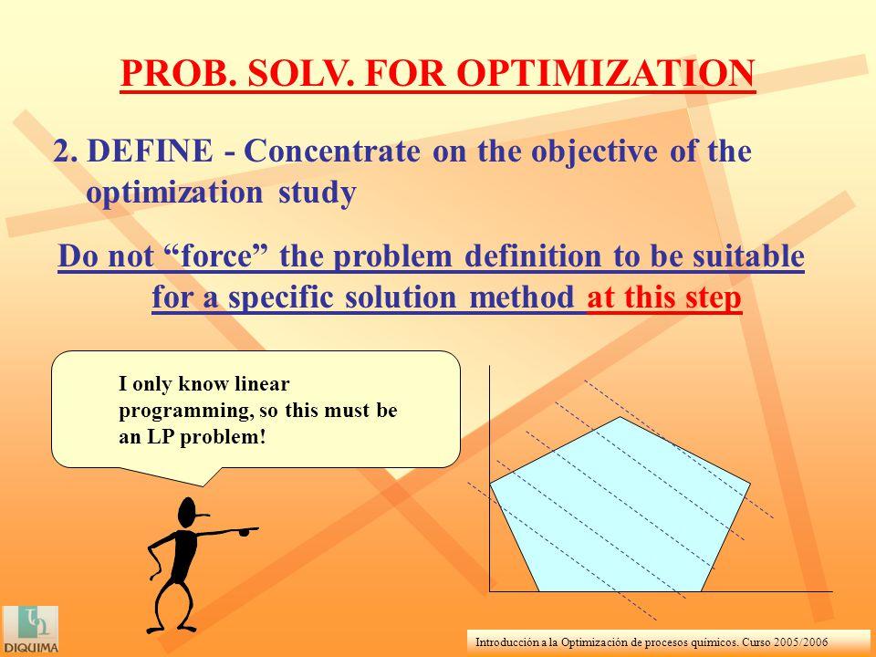 Introducción a la Optimización de procesos químicos. Curso 2005/2006 2. DEFINE - Concentrate on the objective of the optimization study Do not force t