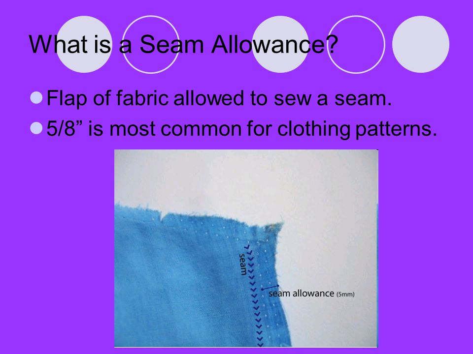 What is a Seam Finish.Finish applied to raw edge of seam allowance.
