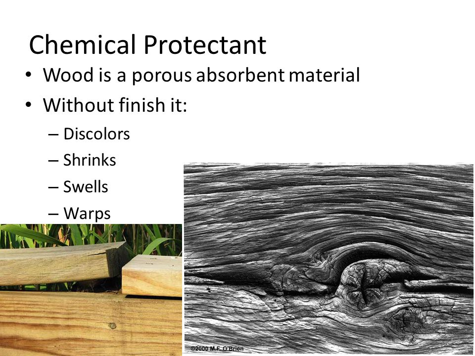 Chemical Protectant Wood is a porous absorbent material Without finish it: – Discolors – Shrinks – Swells – Warps