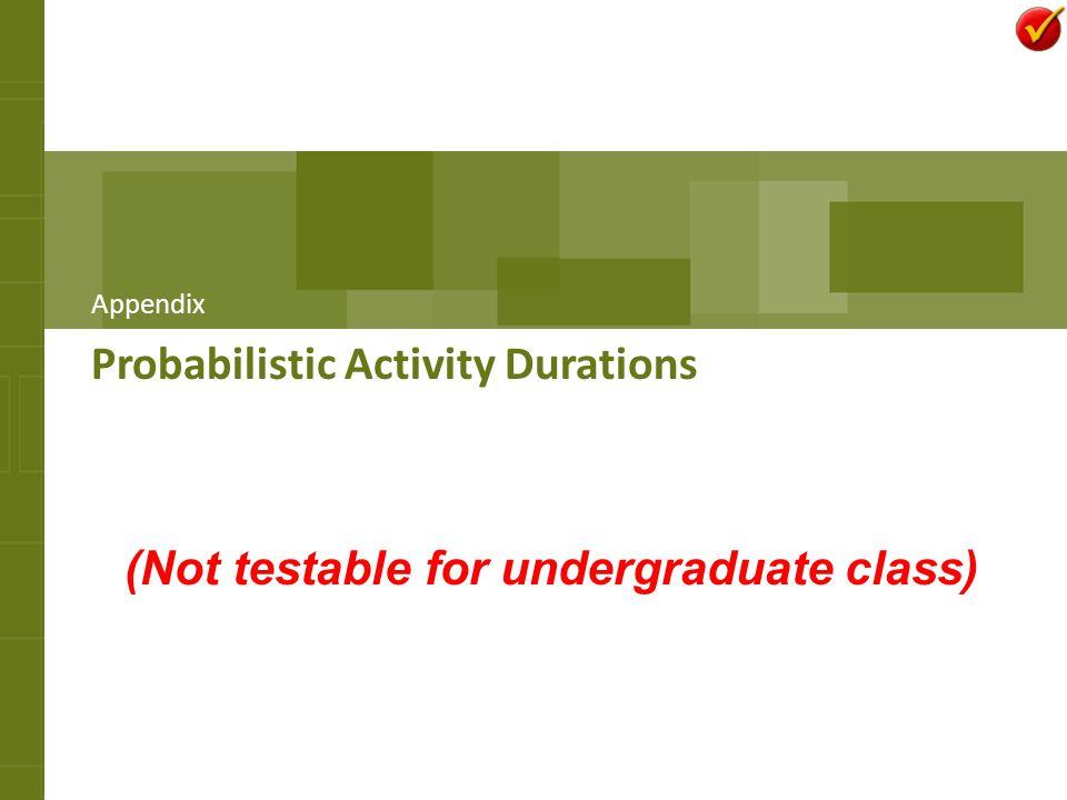 Probabilistic Activity Durations Appendix (Not testable for undergraduate class)