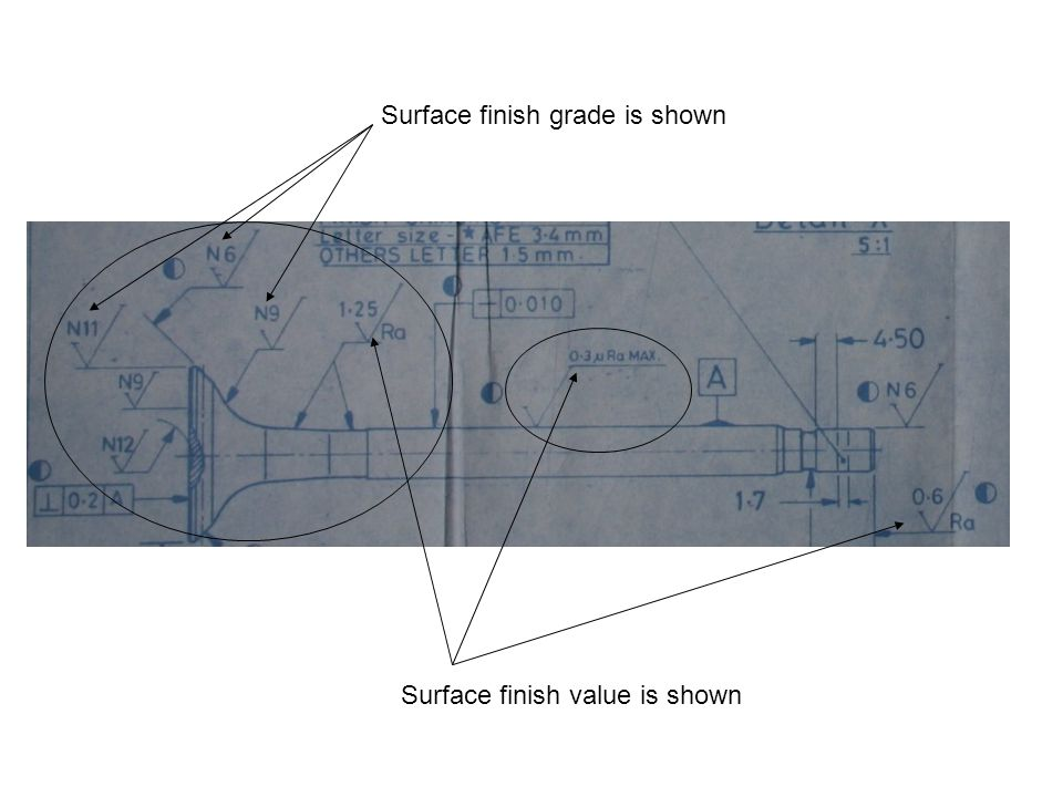 Surface finish grade is shown Surface finish value is shown