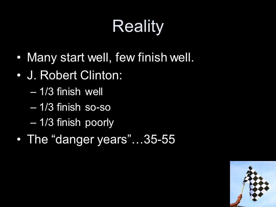 Reality Many start well, few finish well. J.