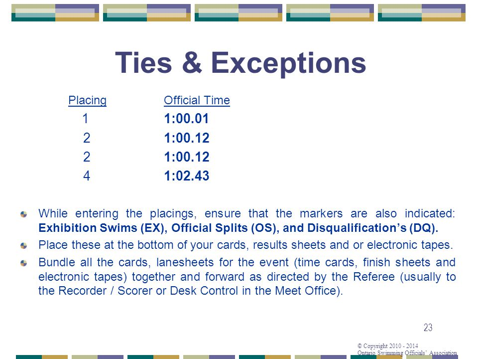 © Copyright 2010 - 2014 Ontario Swimming Officials Association 23 Ties & Exceptions PlacingOfficial Time 11:00.01 21:00.12 4 1:02.43 While entering the placings, ensure that the markers are also indicated: Exhibition Swims (EX), Official Splits (OS), and Disqualifications (DQ).