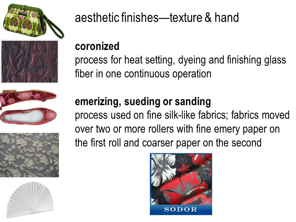 aesthetic finishestexture & hand coronized process for heat setting, dyeing and finishing glass fiber in one continuous operation emerizing, sueding o