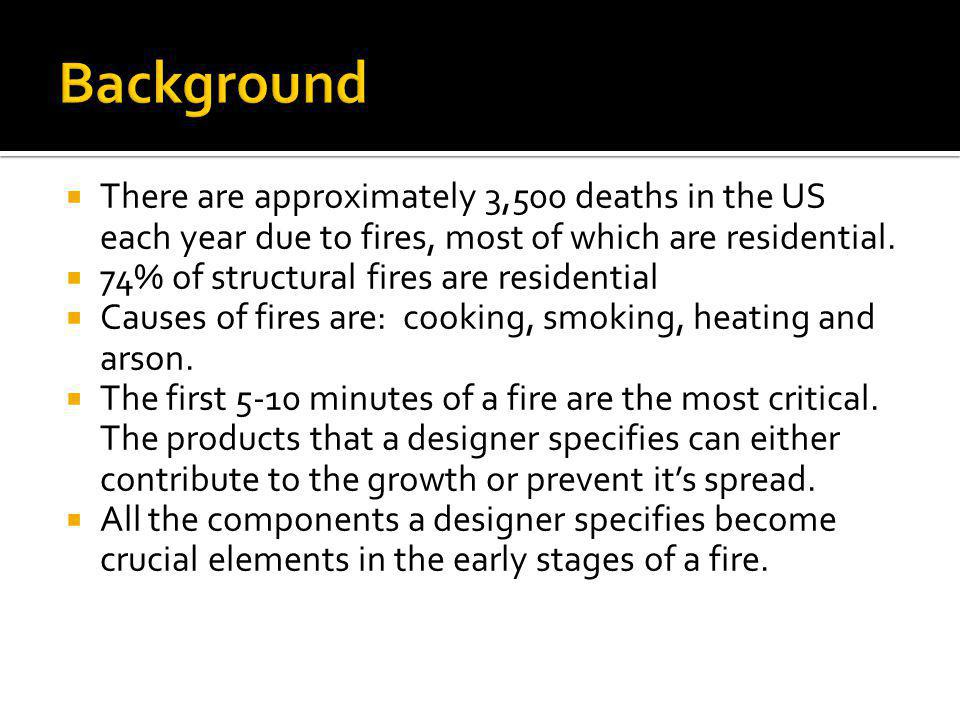 There are approximately 3,500 deaths in the US each year due to fires, most of which are residential. 74% of structural fires are residential Causes o