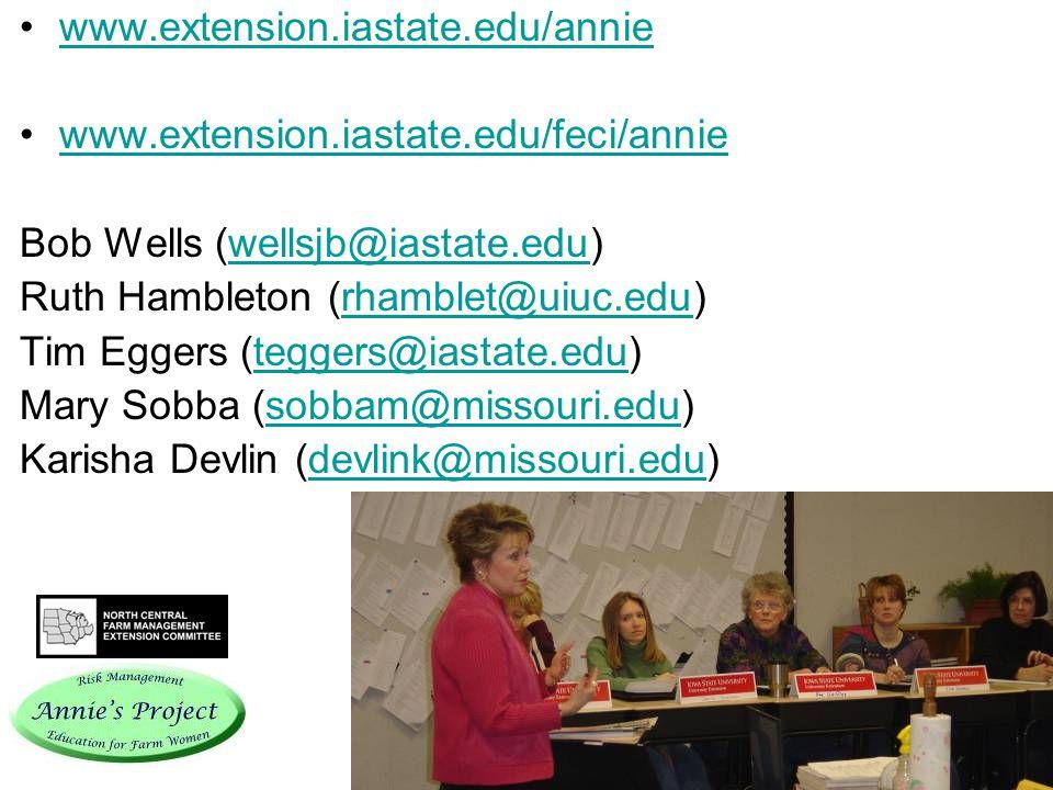 www.extension.iastate.edu/annie www.extension.iastate.edu/feci/annie Bob Wells (wellsjb@iastate.edu)wellsjb@iastate.edu Ruth Hambleton (rhamblet@uiuc.edu)rhamblet@uiuc.edu Tim Eggers (teggers@iastate.edu)teggers@iastate.edu Mary Sobba (sobbam@missouri.edu)sobbam@missouri.edu Karisha Devlin (devlink@missouri.edu)devlink@missouri.edu