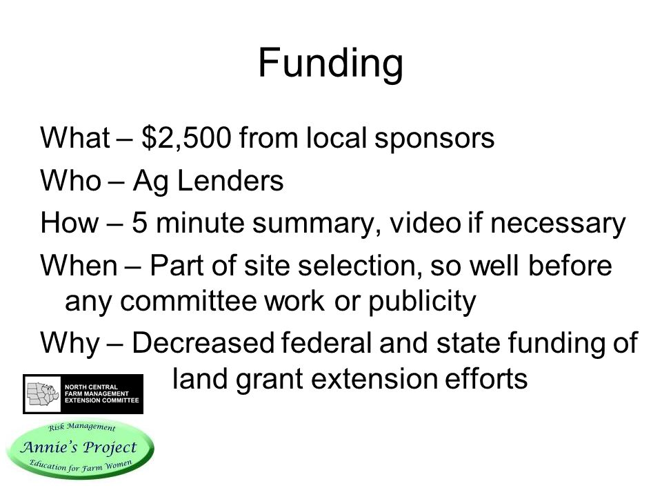 Funding What – $2,500 from local sponsors Who – Ag Lenders How – 5 minute summary, video if necessary When – Part of site selection, so well before any committee work or publicity Why – Decreased federal and state funding of land grant extension efforts