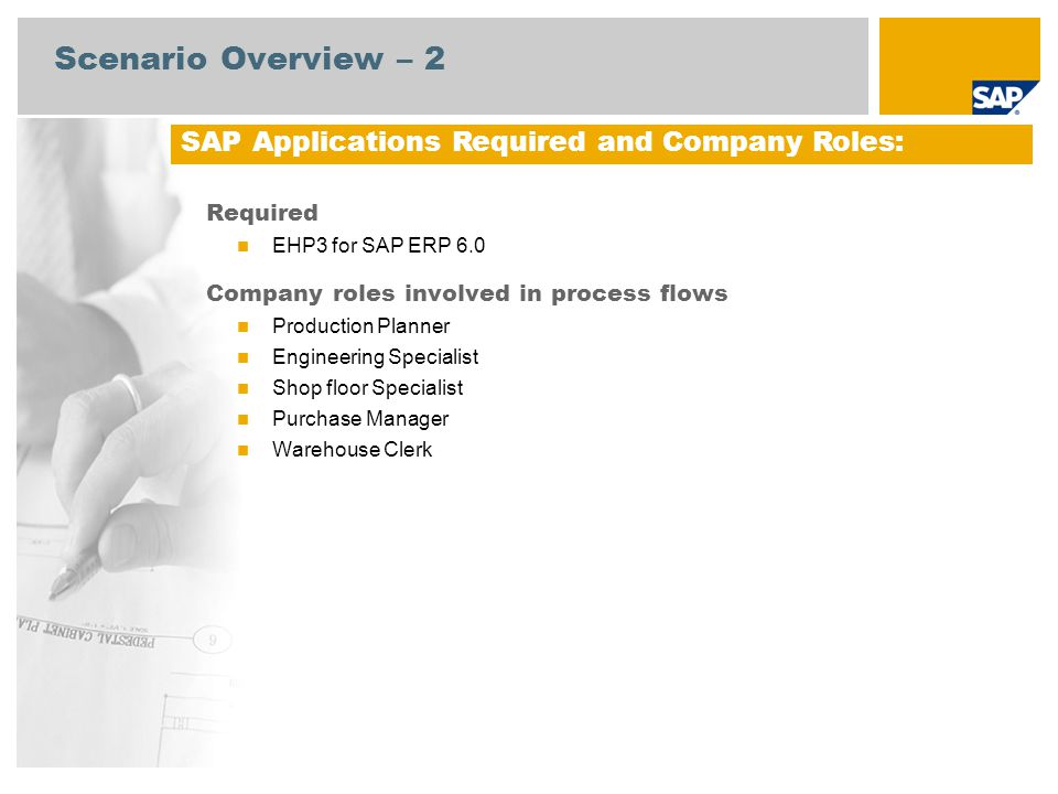 Scenario Overview – 2 Required EHP3 for SAP ERP 6.0 Company roles involved in process flows Production Planner Engineering Specialist Shop floor Specialist Purchase Manager Warehouse Clerk SAP Applications Required and Company Roles: