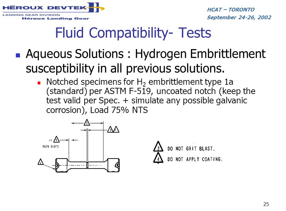HCAT – TORONTO September 24-26, 2002 25 Fluid Compatibility- Tests Aqueous Solutions : Hydrogen Embrittlement susceptibility in all previous solutions