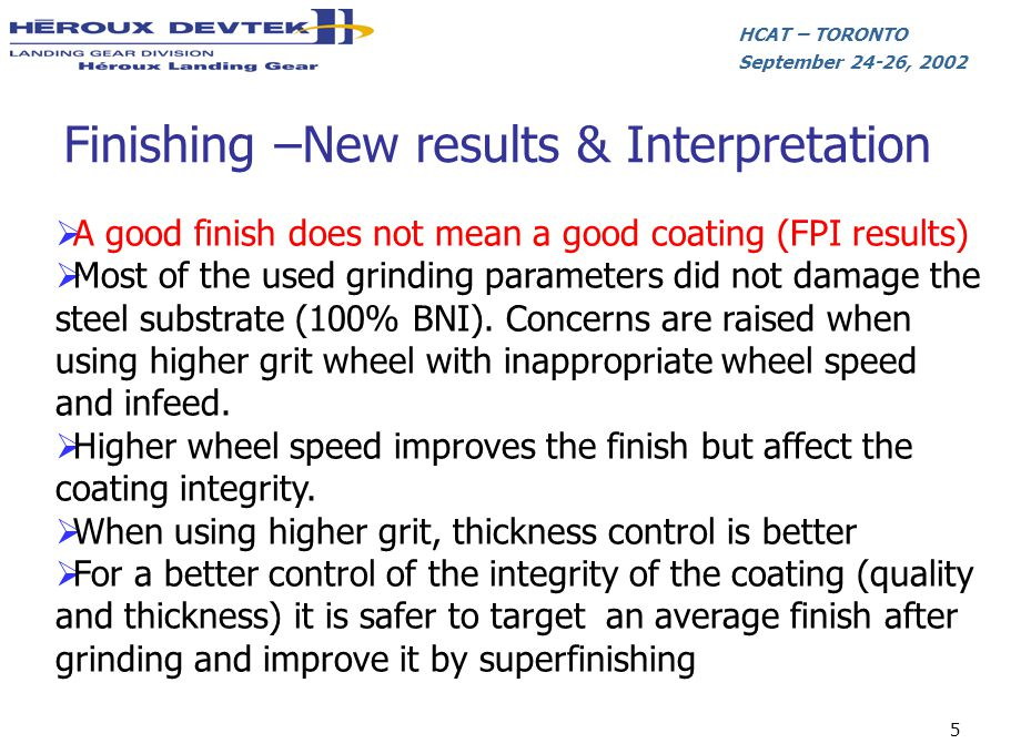 HCAT – TORONTO September 24-26, 2002 5 Finishing –New results & Interpretation A good finish does not mean a good coating (FPI results) Most of the us