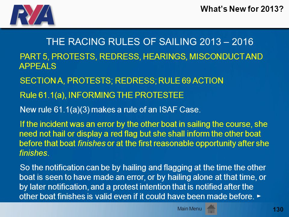 130 Whats New for 2013? THE RACING RULES OF SAILING 2013 – 2016 Main Menu PART 5, PROTESTS, REDRESS, HEARINGS, MISCONDUCT AND APPEALS SECTION A, PROTE