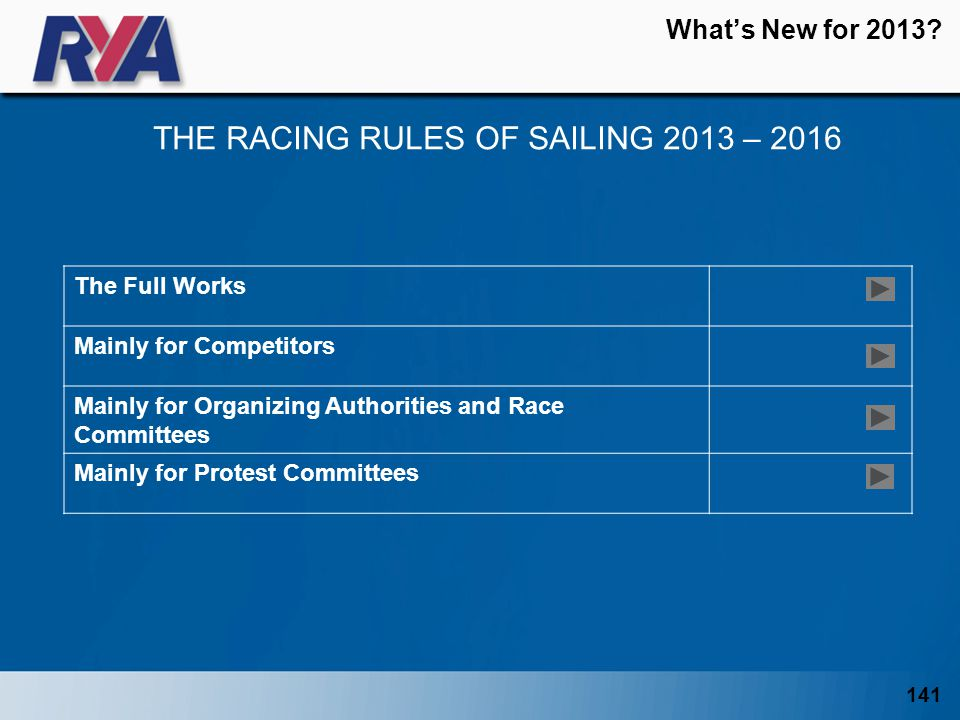 141 Whats New for 2013? THE RACING RULES OF SAILING 2013 – 2016 The Full Works Mainly for Competitors Mainly for Organizing Authorities and Race Commi