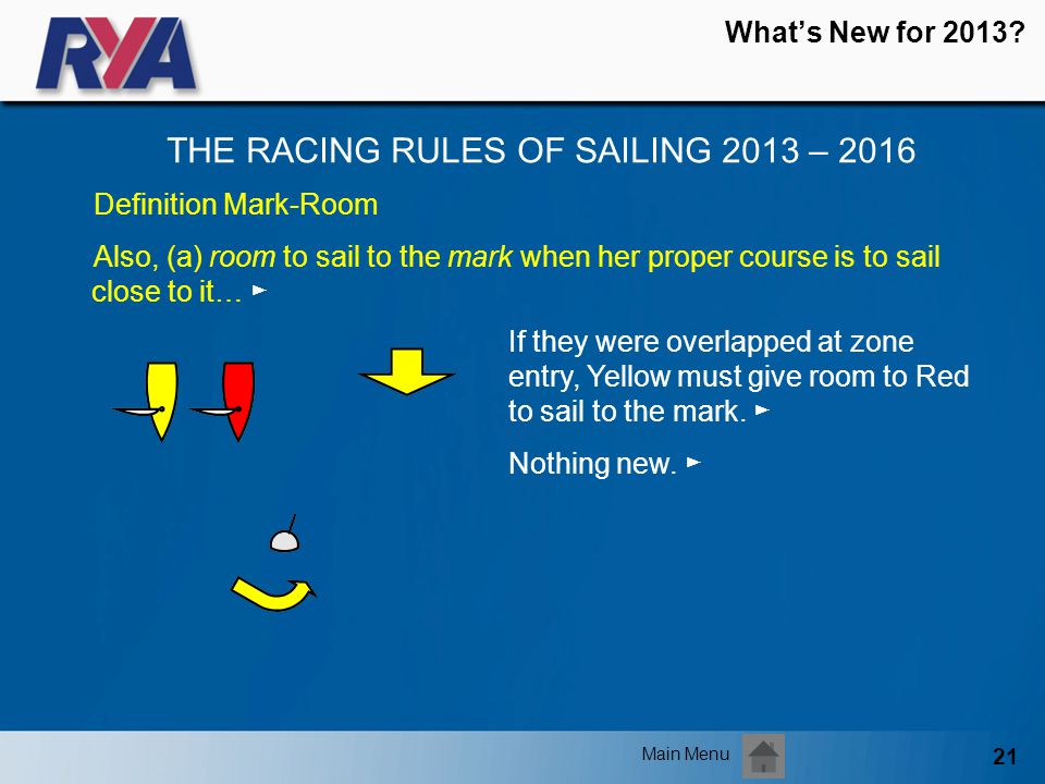 21 Whats New for 2013? THE RACING RULES OF SAILING 2013 – 2016 Main Menu Definition Mark-Room Also, (a) room to sail to the mark when her proper cours