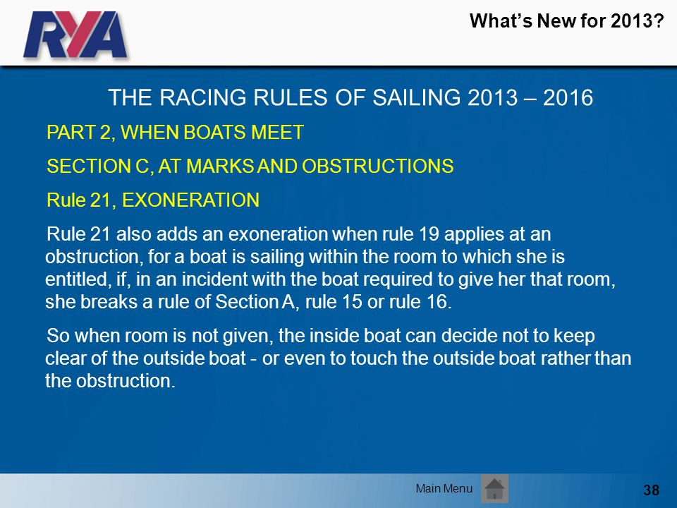 38 Whats New for 2013? THE RACING RULES OF SAILING 2013 – 2016 Main Menu PART 2, WHEN BOATS MEET SECTION C, AT MARKS AND OBSTRUCTIONS Rule 21, EXONERA
