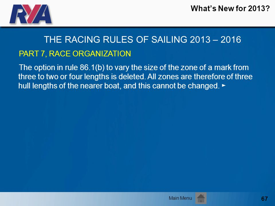 67 Whats New for 2013? THE RACING RULES OF SAILING 2013 – 2016 Main Menu PART 7, RACE ORGANIZATION The option in rule 86.1(b) to vary the size of the