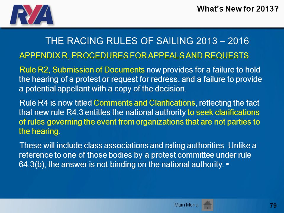 79 Whats New for 2013? THE RACING RULES OF SAILING 2013 – 2016 Main Menu APPENDIX R, PROCEDURES FOR APPEALS AND REQUESTS Rule R2, Submission of Docume