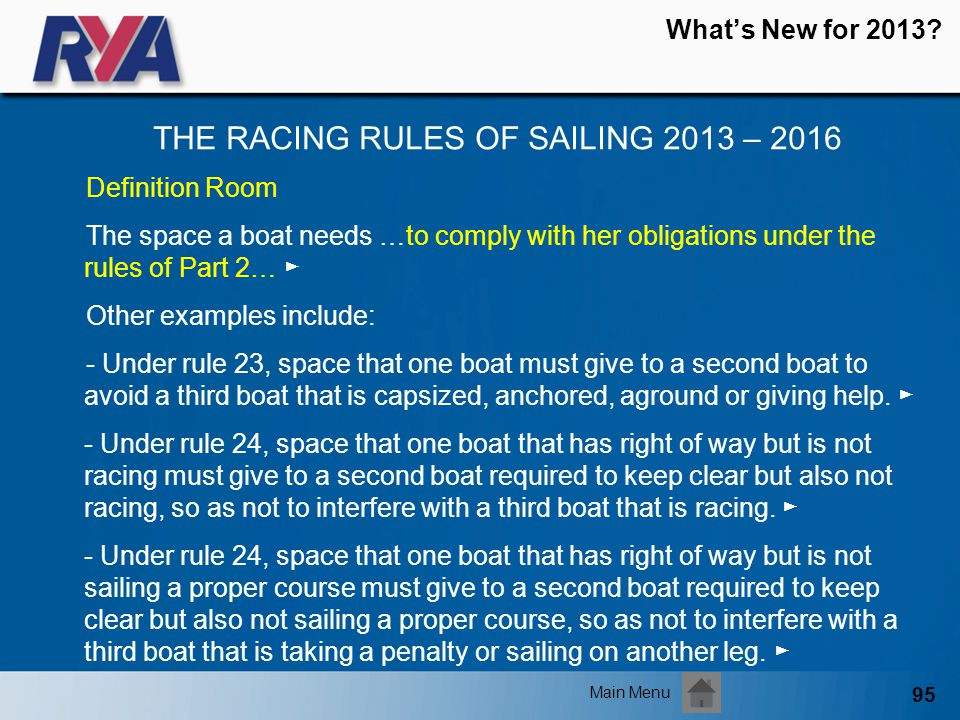 95 Whats New for 2013? THE RACING RULES OF SAILING 2013 – 2016 Main Menu Definition Room The space a boat needs …to comply with her obligations under