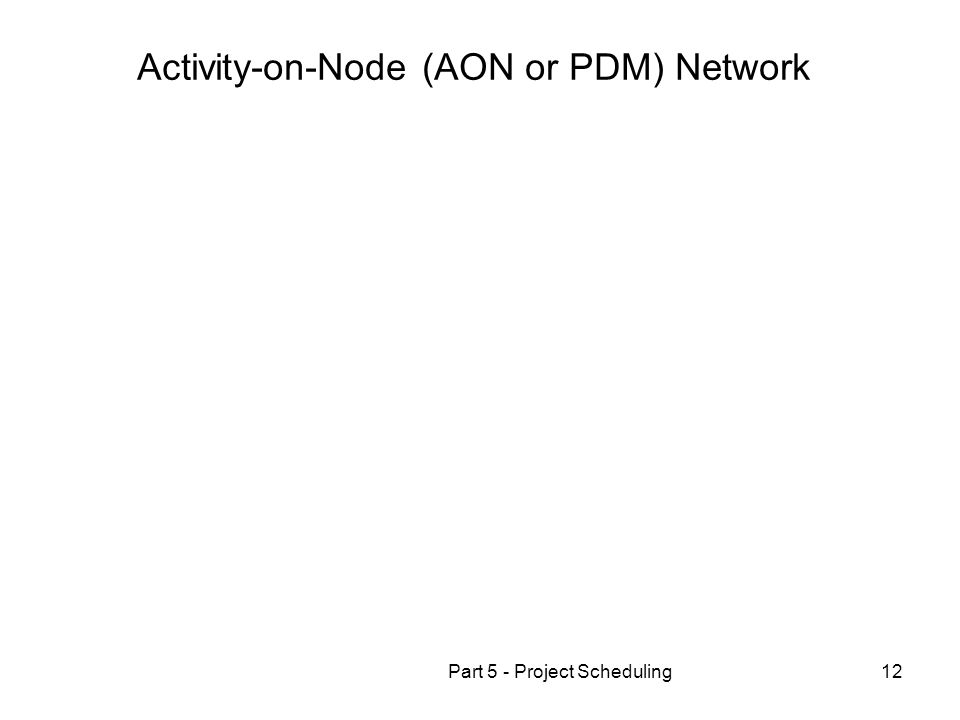 Part 5 - Project Scheduling12 Activity-on-Node (AON or PDM) Network