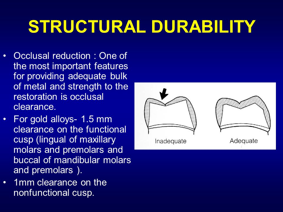 STRUCTURAL DURABILITY Occlusal reduction : One of the most important features for providing adequate bulk of metal and strength to the restoration is