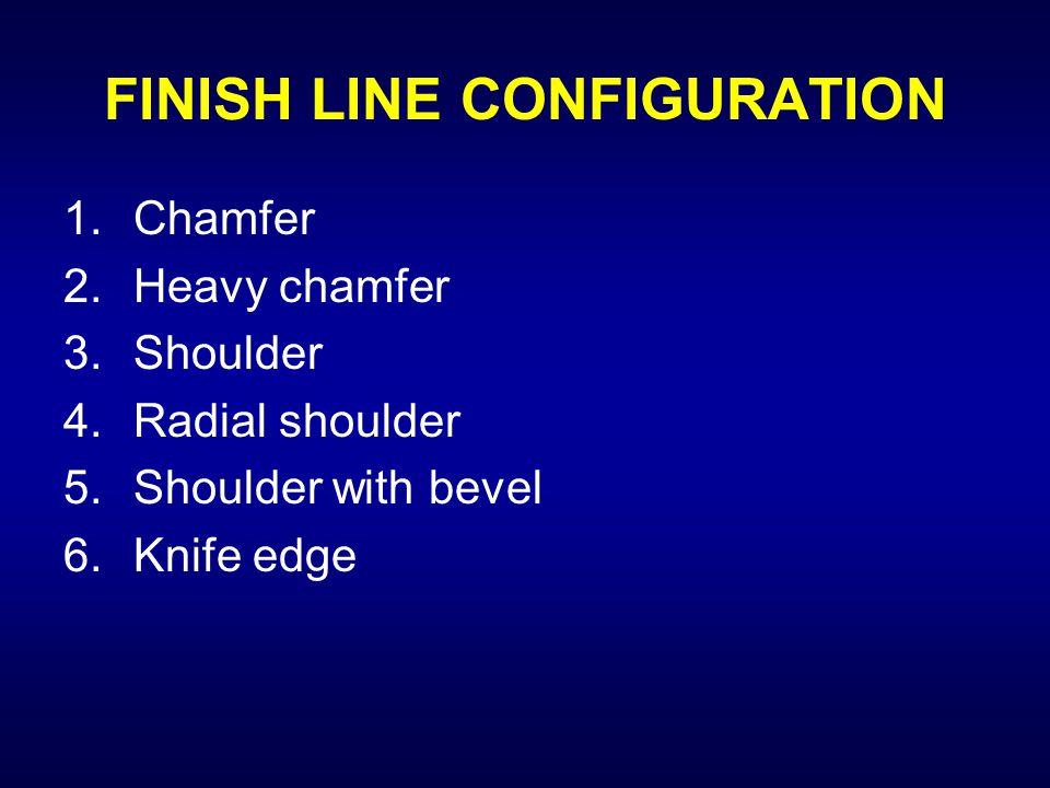 FINISH LINE CONFIGURATION 1.Chamfer 2.Heavy chamfer 3.Shoulder 4.Radial shoulder 5.Shoulder with bevel 6.Knife edge