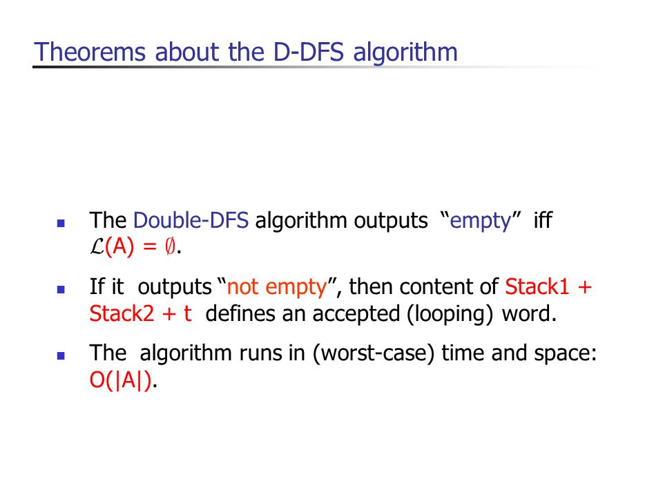 The Double-DFS algorithm outputs empty iff L (A) = ;.