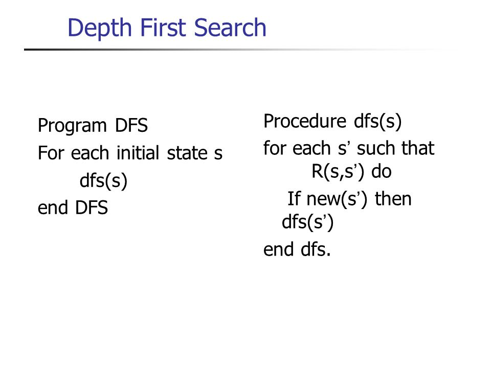 Depth First Search Program DFS For each initial state s dfs(s) end DFS Procedure dfs(s) for each s such that R(s,s ) do If new(s ) then dfs(s ) end dfs.