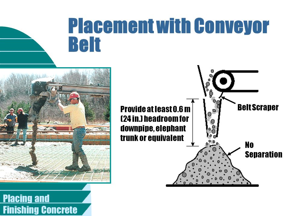 Placing and Finishing Concrete Placement with Conveyor Belt Belt Scraper No Separation Provide at least 0.6 m (24 in.) headroom for downpipe, elephant