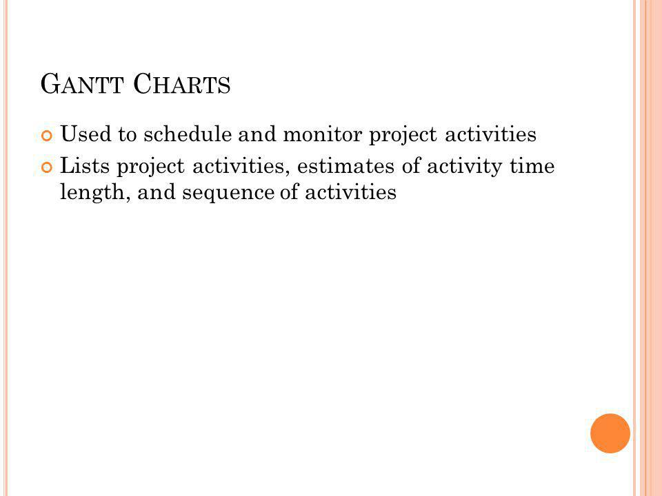 G ANTT C HARTS Used to schedule and monitor project activities Lists project activities, estimates of activity time length, and sequence of activities