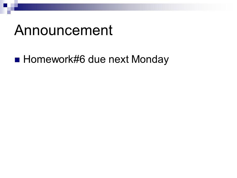 Announcement Homework#6 due next Monday