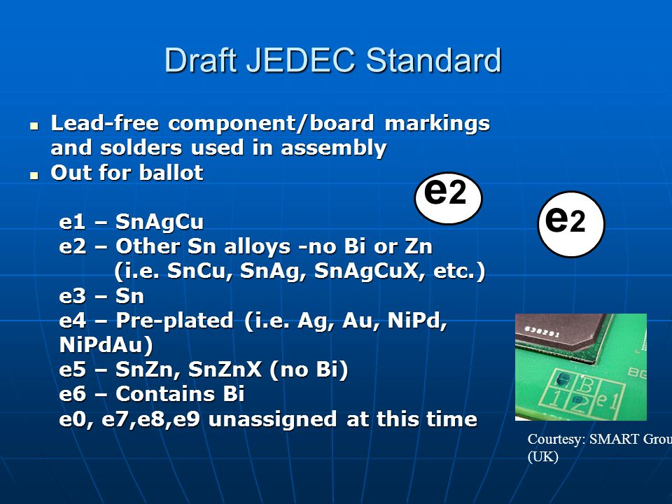 IPC lead-free Labeling Standard MARKING, SYMBOLS AND LABELS FOR IDENTIFICATION OF LEAD-FREE AND OTHER REPORTABLE MATERIALS IN LEAD (Pb) FREE ASSEMBLIES, COMPONENTS AND DEVICESMARKING, SYMBOLS AND LABELS FOR IDENTIFICATION OF LEAD-FREE AND OTHER REPORTABLE MATERIALS IN LEAD (Pb) FREE ASSEMBLIES, COMPONENTS AND DEVICES Incorporates JEDEC lead-free labeling documentIncorporates JEDEC lead-free labeling document Additions for …Additions for …