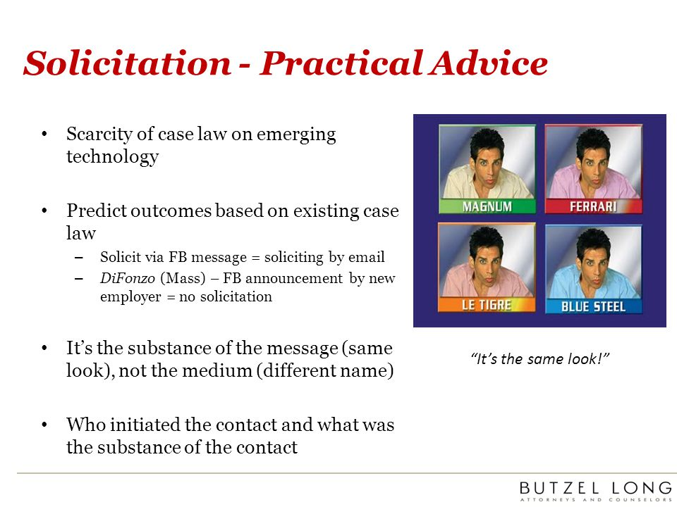 Solicitation - Practical Advice Scarcity of case law on emerging technology Predict outcomes based on existing case law – Solicit via FB message = sol
