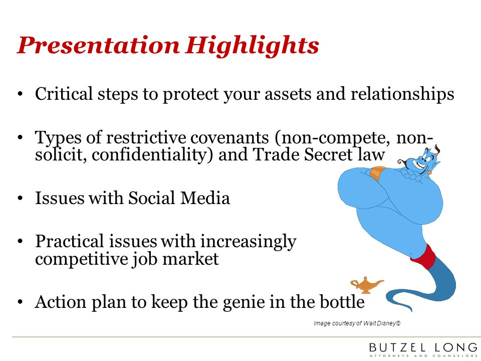 Final Pointers Police confidentiality measures Draft enforceable non-competes Beware of horizontal agreements with competitors Beware of social media issues Have a strategy in place for practical hiring issues Be cautious with subsequent agreements Make good termination/discipline decisions Consistently enforce Act swiftly Preserve all documents and computer evidence